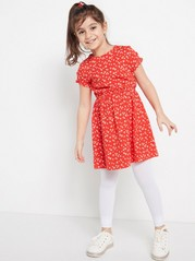 Květované šaty selastickým pasem Červená