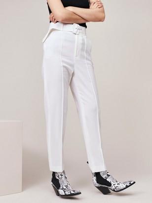 Bílé vlněné kalhoty Bílá