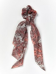 Paisley Patterned Scrunchie with Scarf  Pink