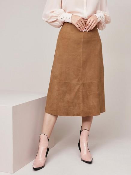 Semišová sukně Hnědá