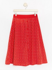 Patterned Skirt with Buttons  Red