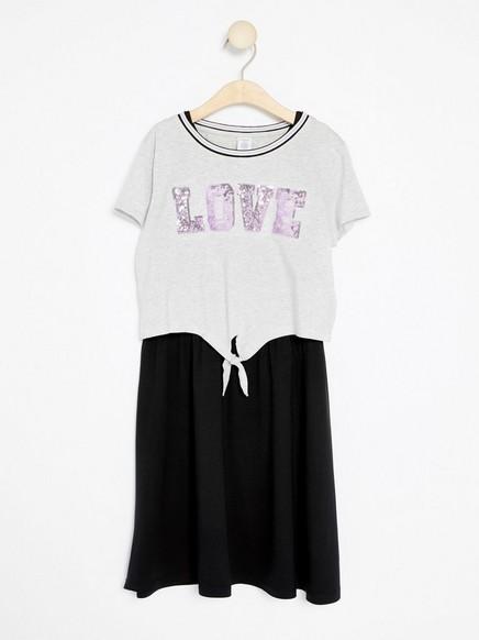 2 i 1 kjole i Tencel®-blanding Grå