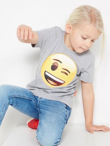 T-paita, jossa Emoji-painatus Harmaa