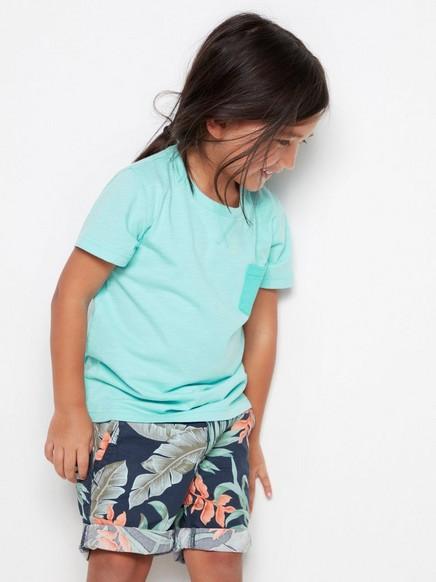 Valkoinen t-paita, jossa on rintatasku Turkoosi