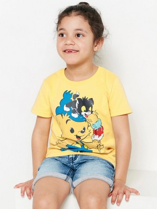T-shirt with Bamse Print Yellow