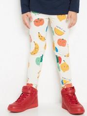 Leggings with Fruit Pattern Beige
