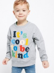 Sweatshirt with Colourful Text Print Grey