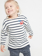 Striped Oversize Sweater with a Crab White