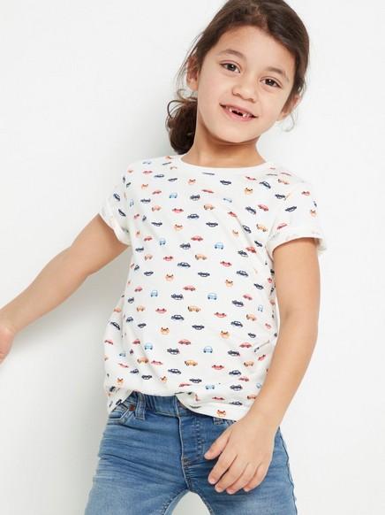 T-skjorte med bilmønster Hvit