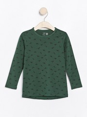 Long sleeve top with dinosaurs Green