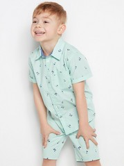 Patterned Short Sleeve Cotton Shirt Green