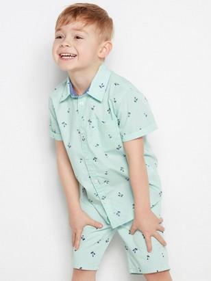 Mønstret, kortermet skjorte i bomull Grønn