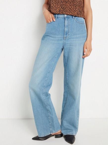 Vid bukse med høy midje Blå
