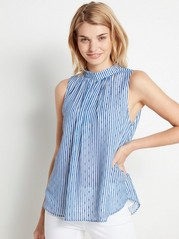 Blue and White Striped Blouse  White