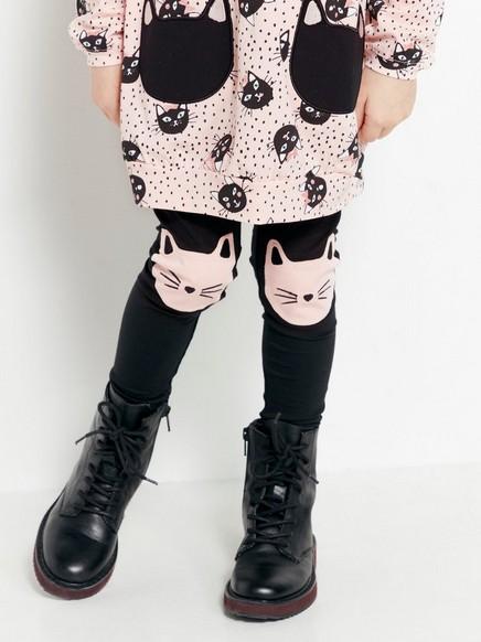 Svarte leggings med katter Svart