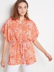 Løs bluse med knytebelte Oransje