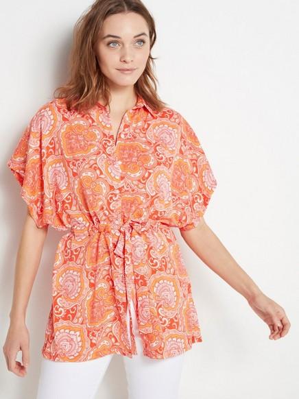 Väljä pusero, jossa solmittava nauha Oranssi