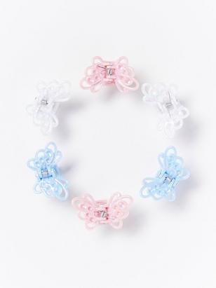 6-pack Hair Clips with Butterflies Pink