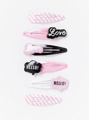 6-pack hårspännen Rosa