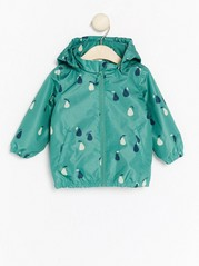 Patterned Rain Jacket Green
