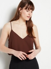 Camisole with Slim Straps  Brown
