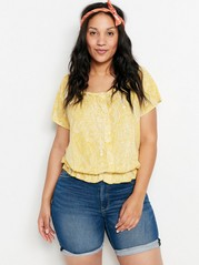 Top in lyocell blend with buttons   Yellow