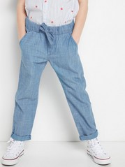 Regular Chambray Trousers Blue