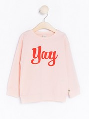 Sweater with Text Print Pink
