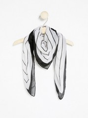 Black and White Scarf  White