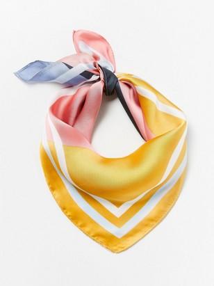 Barevný saténový šátek Žlutá