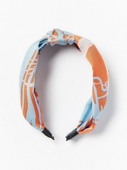 Patterned Alice Band with Knot  Blue