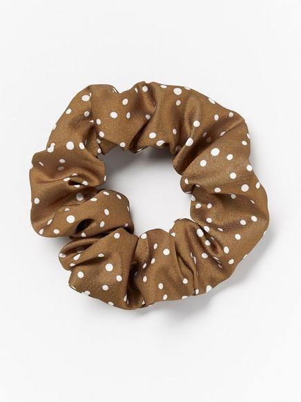 Scrunchie med prikker Brun