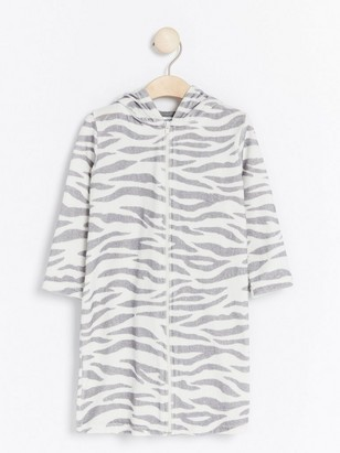 Zebra Bathrobe with Ears Grey