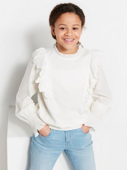 Bluse med volang og struktur Hvit