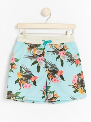 Swim shorts with Flower Print Aqua
