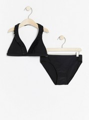 Bikini with Flounce Black