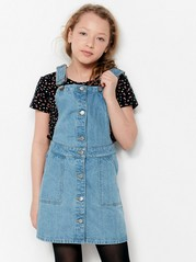 Denim Dress with Braces Blue