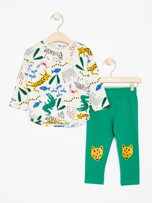 Set with Top and Leggings Green