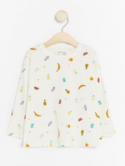 Long Sleeve Top with Fruits White