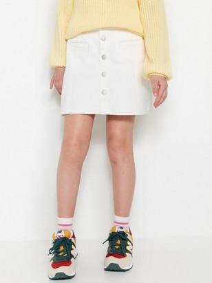 Denim Skirt White