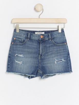 Denim Shorts with Raw Edges Blue