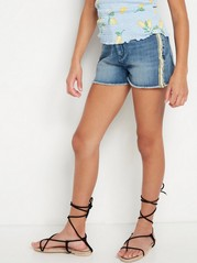 Narrow High Waist Jeans Shorts Blue