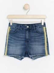 Narrow High Waist Jeans Shorts Blue