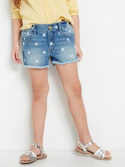 Regular Denim Shorts with Embroidered Daisys Blue