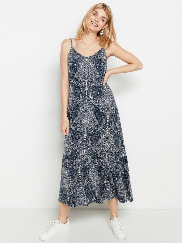 Vendbar kjole i lyocellblanding Blå