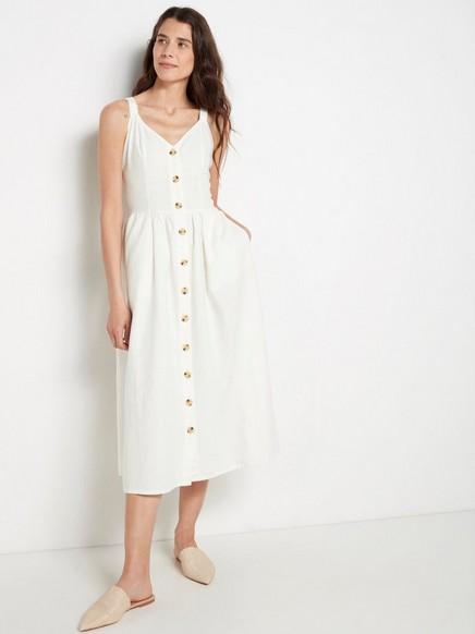 Hvit kjole i linblanding Hvit