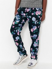 Trousers with Flowers Black