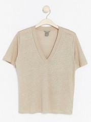 V-neck Linen Top  Beige