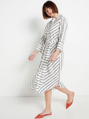 Striped White Dress with Tie Belt White
