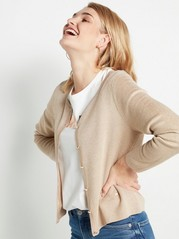 Glittery Cardigan with Gold Coloured Buttons  Beige